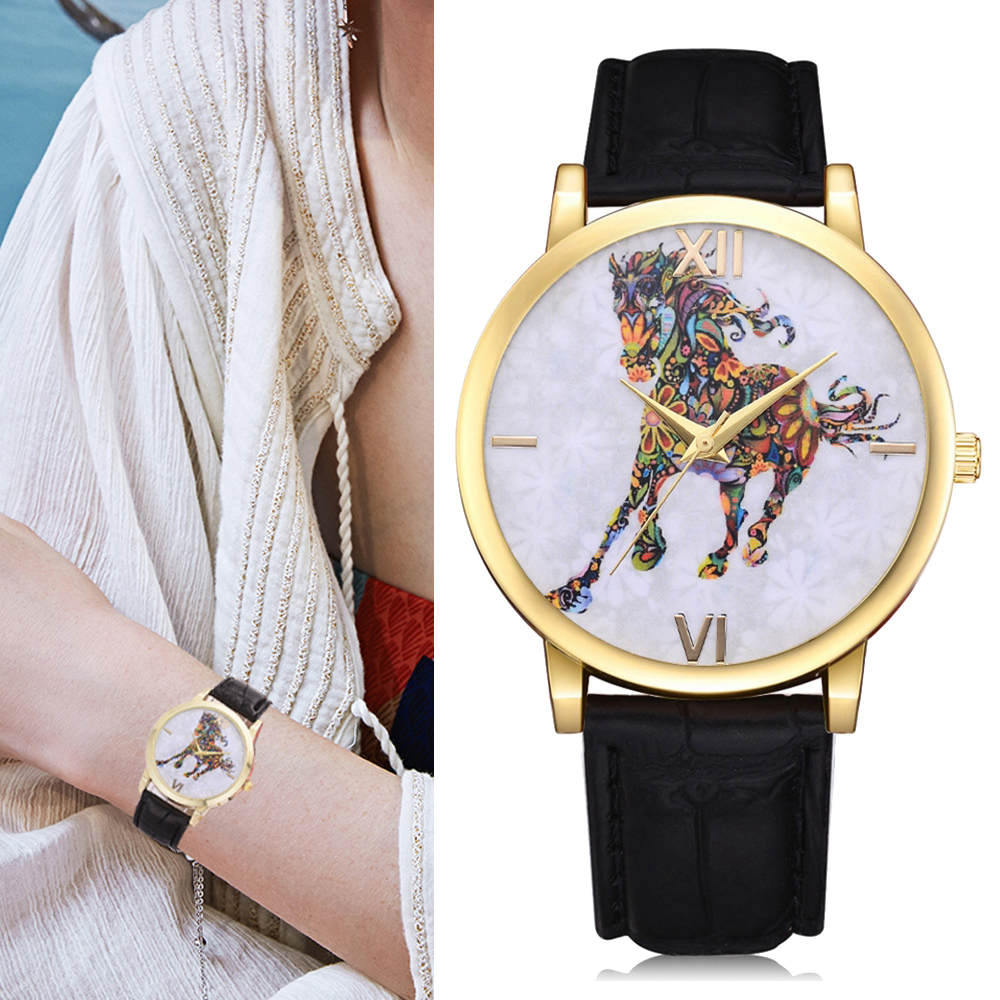 Lvpai Women Causal Dress Sport Watches Ladies Elegant PU Leather Band Quartz Horse Wrist Watch relogios feminino Clock Hours lvpai p304 women analog quartz metal band wrist watch