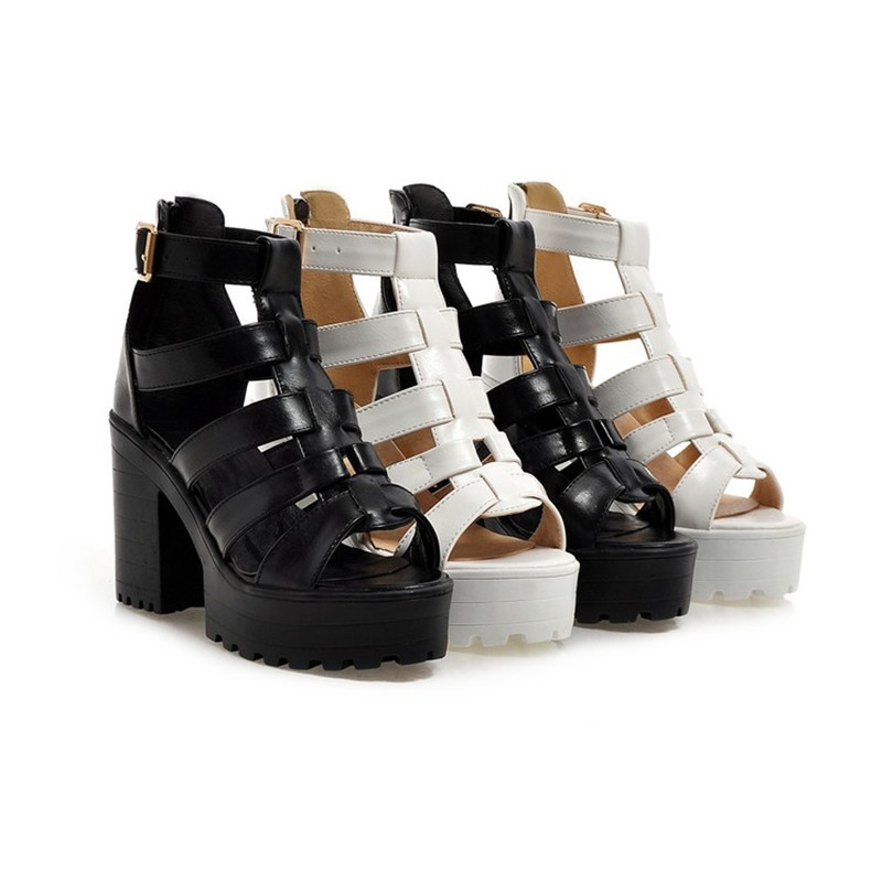 Señoras Partido 10 Mujeres Zapatos Gladiador Chunky 5 Tacón Talones Del Sandalias Hebilla Correa Las 43 34 Verano Negro Cm white Black De Mujer a7zxwar6q