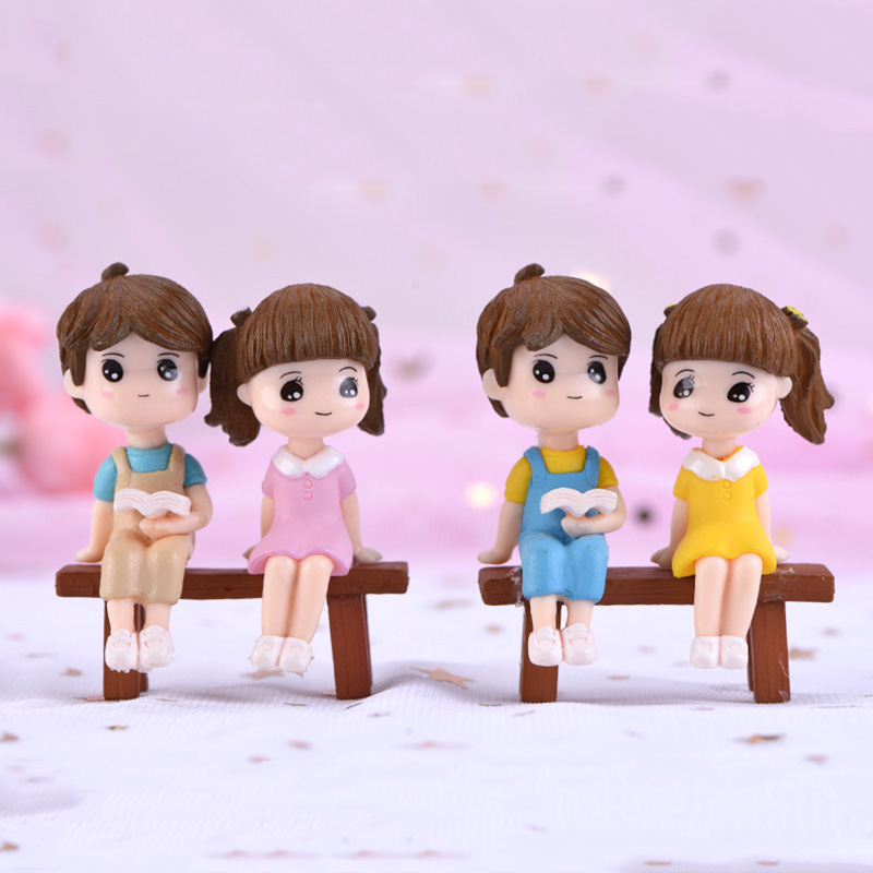 3pcs Mini Figures Lovers Chair Miniatures Garden Fairy Figurine Dollhouse Decoration Resin Ornaments Home Decor Christmas Gift