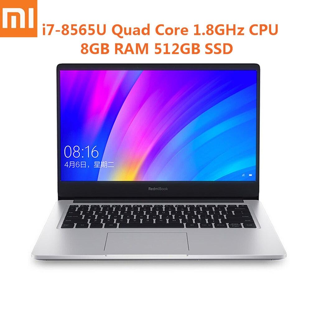Xiaomi RedmiBook i7-8565U Win10 14 polegada Laptop Intel Core Quad Core 1.8 GHz NVIDIA GeForce MX250 8 GB 512 GB notebook Ultra-Fino