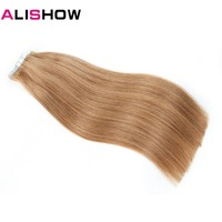 Alishow Remy Human Hair Extensions 20 pieces Hair Extensions Straight Hair Bundle Tape In Human Hair Extensions 20 Inches