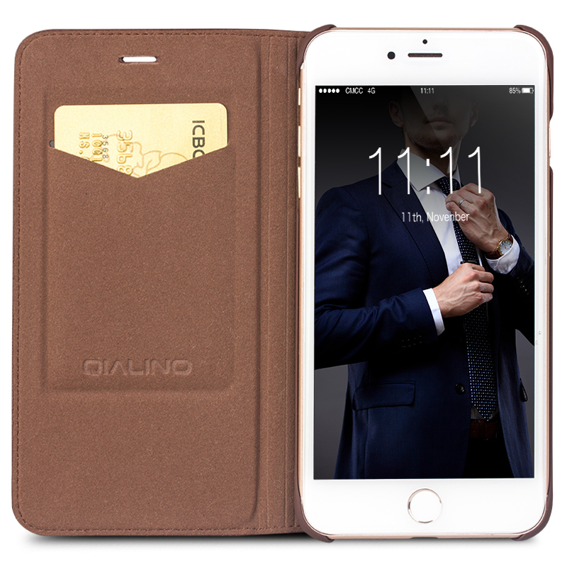 QIALINO New Handmade Genuine Leather Case for iPhone 7 Flip Cover for iphone 7 plus luxury Ultra Slim Phone Case 4.7/5.5 holster