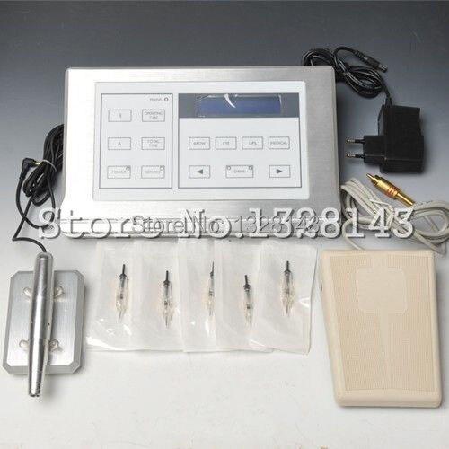 Kit macchina di trucco permanente del sopracciglio del tatuaggio penna + 50 pz aghi alimentazione lcd strumenti di bellezza set per le donne