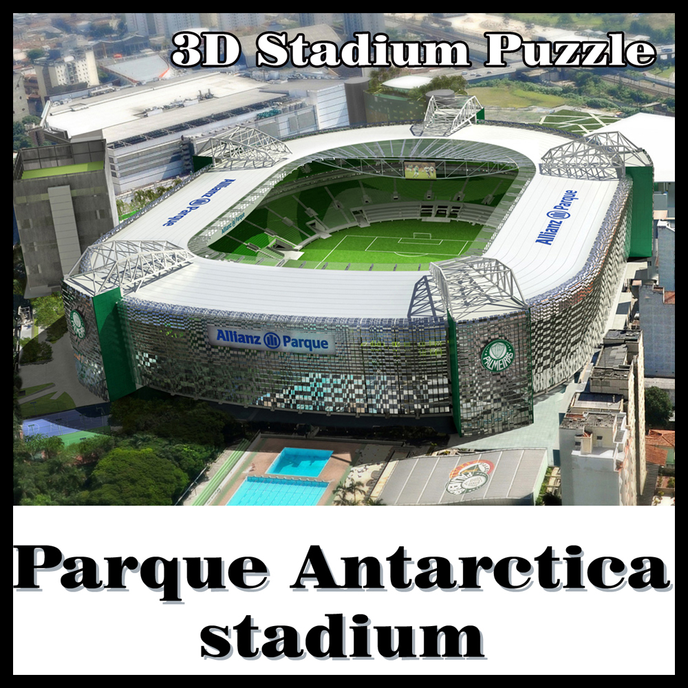 3D-pussel fotbollsstadion Palmeiras stadion Palmeiras SP souvenir pusselmodell Spel Leksaker Halloween Jul