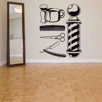 New arrival Barber Shop Sticker Name Chop Bread Decal Haircut Shavers Posters Vinyl Wall Art Decals Windows Decoration Mural