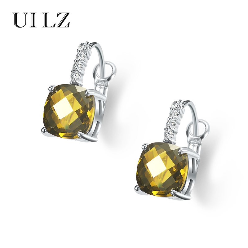 UILZ Classical Design 11mm 3.25ct Cubic Zircon Diamond Earring Real Platinum Plated Crystal Drop Earrings Women BLEP058 - Bella Fashion Jewelry store