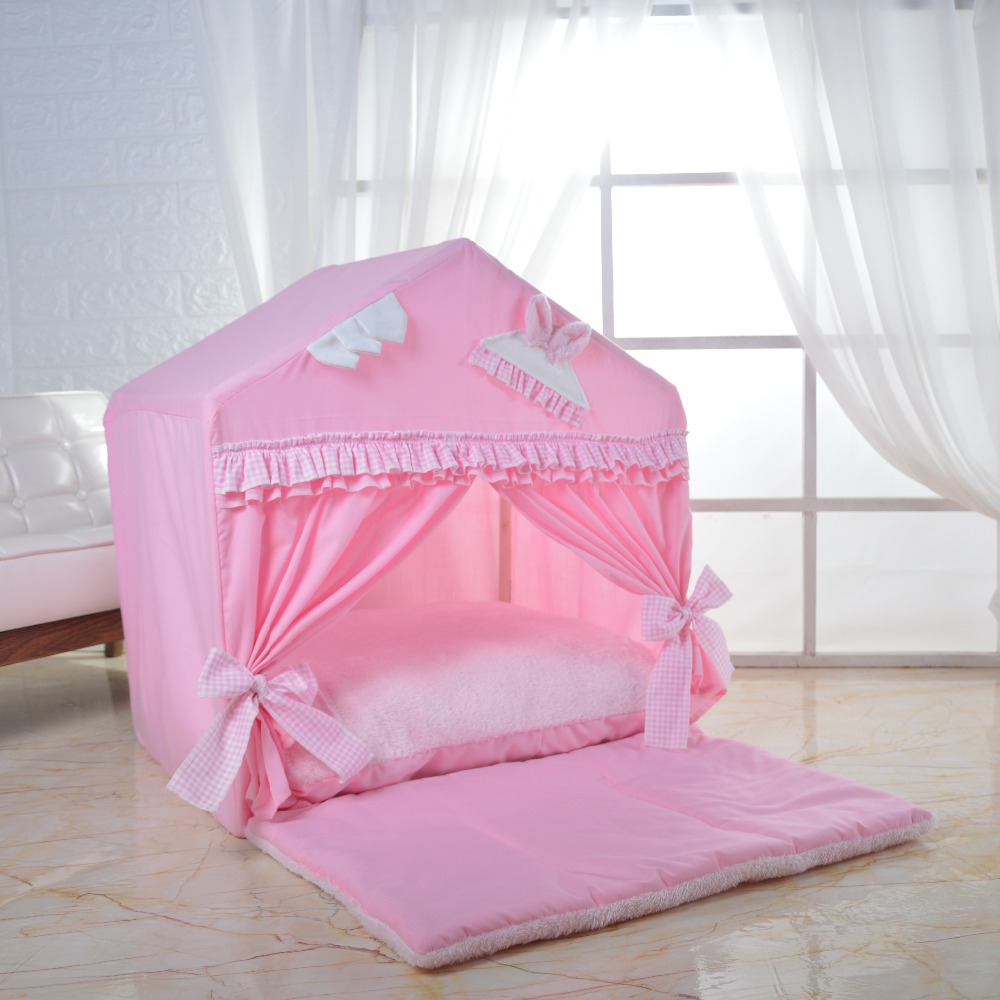 Lace kennel with upholstered and quilt kennel beautiful pet lodge cotton pet house puppy tent