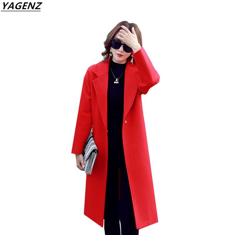 2017 femme laine manteau haute qualité hiver veste femmes Slim laine Long élégant mélange vêtements d'extérieur femmes YAGENZ A151
