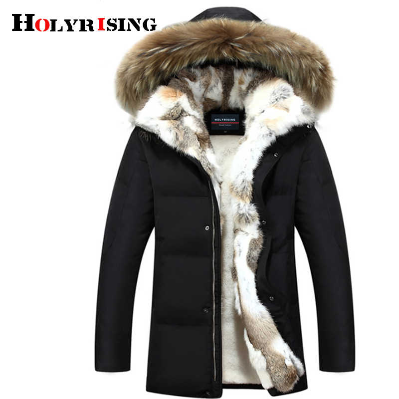 Holyrising Men and Women Thick Down Jacket 2018 Winter Warm Waterproof Big Raccoon Fur Collar Fit -30 degrees S-5XL size 18640-5