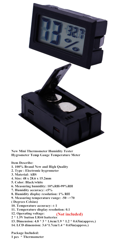 -50 ~ 70C 10% ~ 99% RH LCD Cyfrowy termometr Higrometr Tester Czujnik - Przyrządy pomiarowe - Zdjęcie 5
