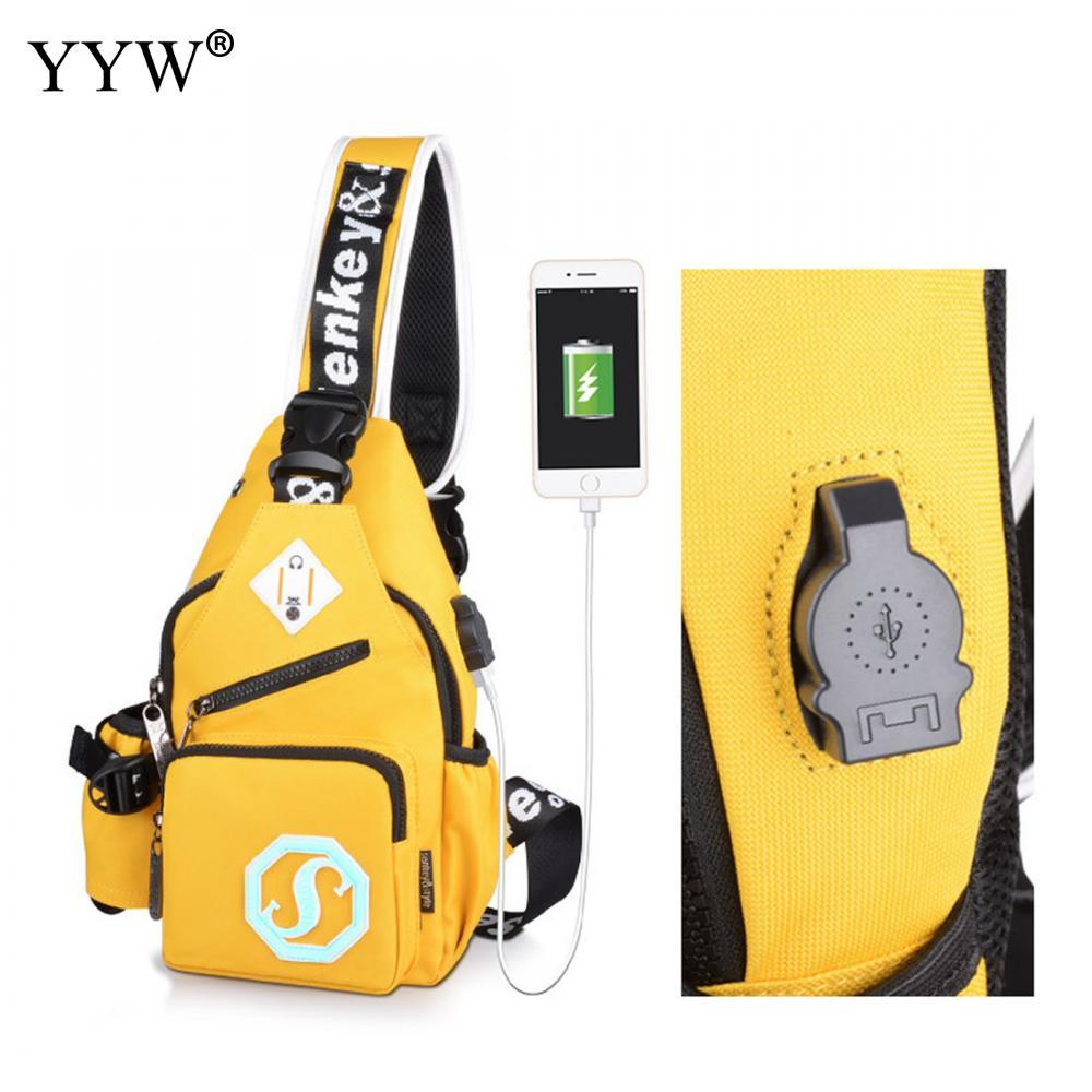 Yellow Men Sling Bag Usb Charge Interface Multifunction Shoulder Waist Bags Zipper Crossbody Bag Male Chest Bag Sacoche Homme