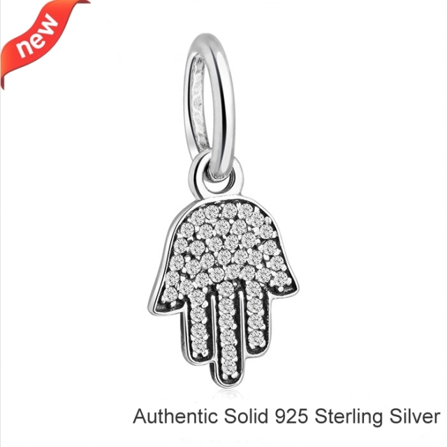 287a7561d Fits Pandora Bracelets 925 Sterling Silver Hamsa Hand Jellyfish Dangle with  Clear CZ Pendant Dangle European