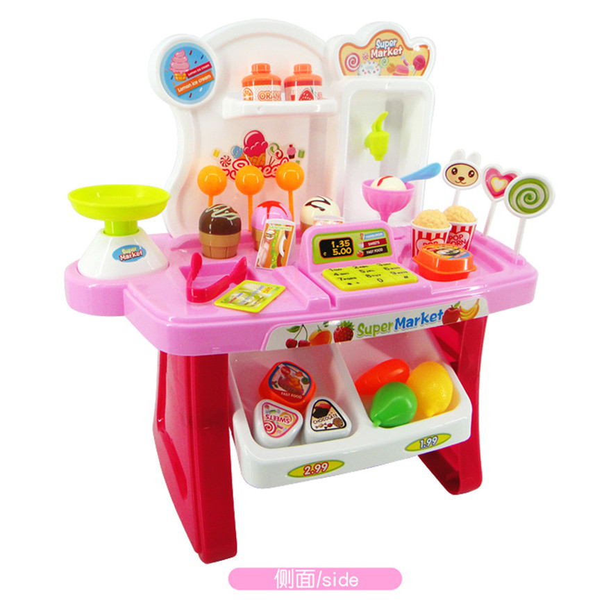 Supermarket Play Set With Cash Register Children Christmas Gift Shopping Trolley Kids Pretend Play Toy Set