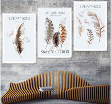 3 Panels Set Simple Retro Feathered Printed Canvas Painting Living Room Wall Art Pictures Home Posters(China)