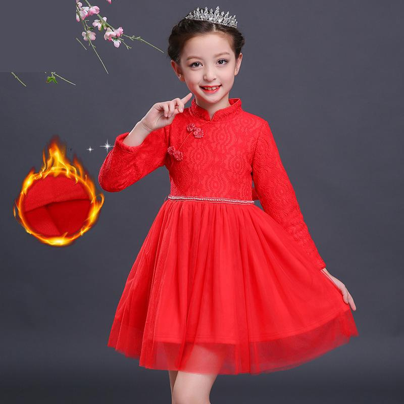 Girls Thick Velvet Dress Chinese Style Long sleeve Lace Wedding Party Dress Children's Princess Dresses Kids Christmas Clothes dress coat traditional chinese style qipao full sleeve cheongsam costume party dress quilted princess dress cotton kids clothing