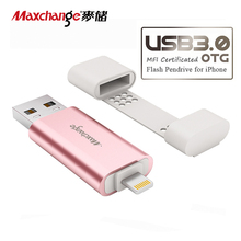 Maxchange USB Flash Drive OTG USB 3.0 32G 64G 128G Storage Flash Memory Pendrive U Disk Memory Disk For iPhone/iPad/PC Pink