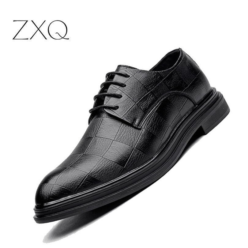 High Quality Men Shoes Oxfords Artificial Leather Shoes Men Pointed Toe Grid Pattern Shoes For Men Zapatos Hombre