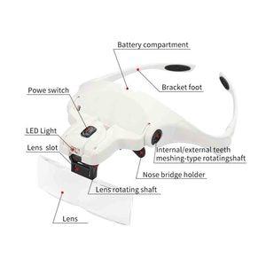 Image 3 - 5 Lens Adjustable Headband Magnifying Glass With LED Light for Eyelash Extension,Magnifier Lamp for Eyelashes