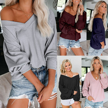 New casual women's sweater loose stitching female sweater fashion personality lantern sleeves off-the-shoulder sexy sweater dark grey off shoulder bat wing sleeves sweater