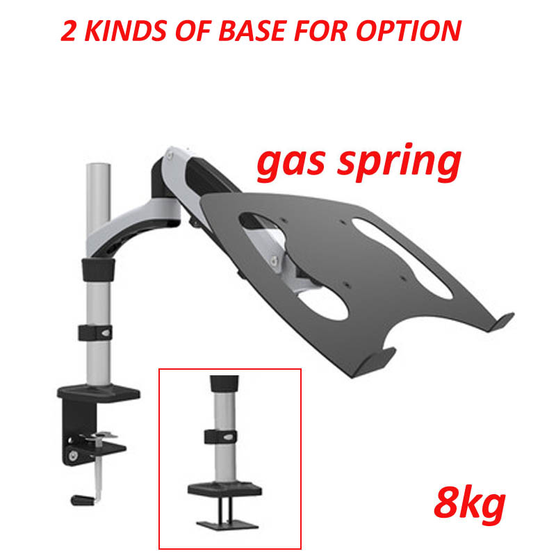 tilt full motion aluminum air press gas spring dual arm lcd desktop Mount swivel monitor table stand clamp with laptop bracket