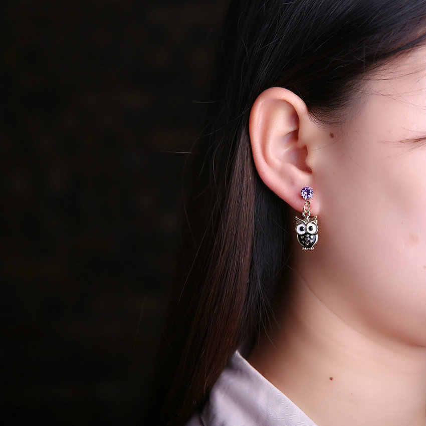 TianBo брендовые ювелирные изделия черная сова хрустальные серьги-гвоздики для женщин винтажные Золотые сережки-гвоздики для животных