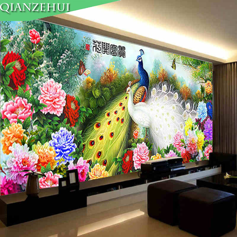 QIANZEHUI,Needlework,DIY Peacock Peony Cross Stitch,Sets For Embroidery Kits Blossoming Cross-Stitch,Wall Home Decro