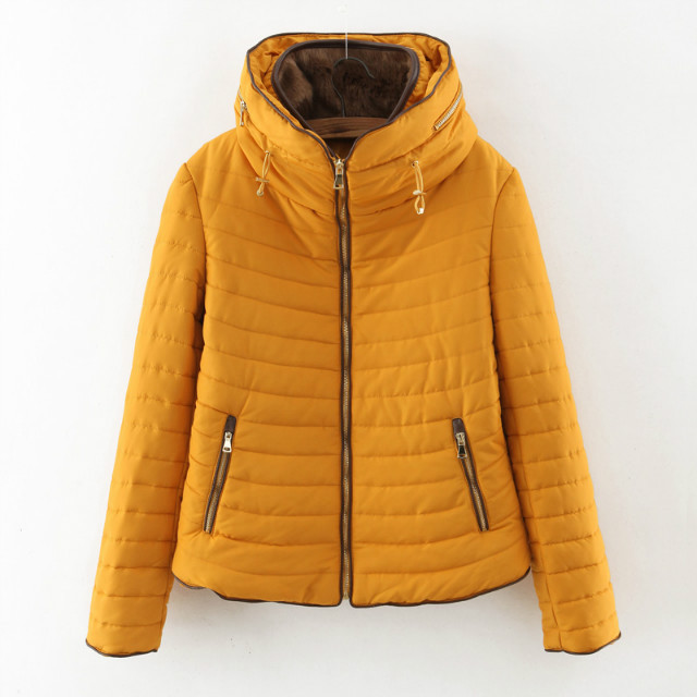 Quality Fur Collar Hooded Warm Cotton Quilted Cotton Jacket Women