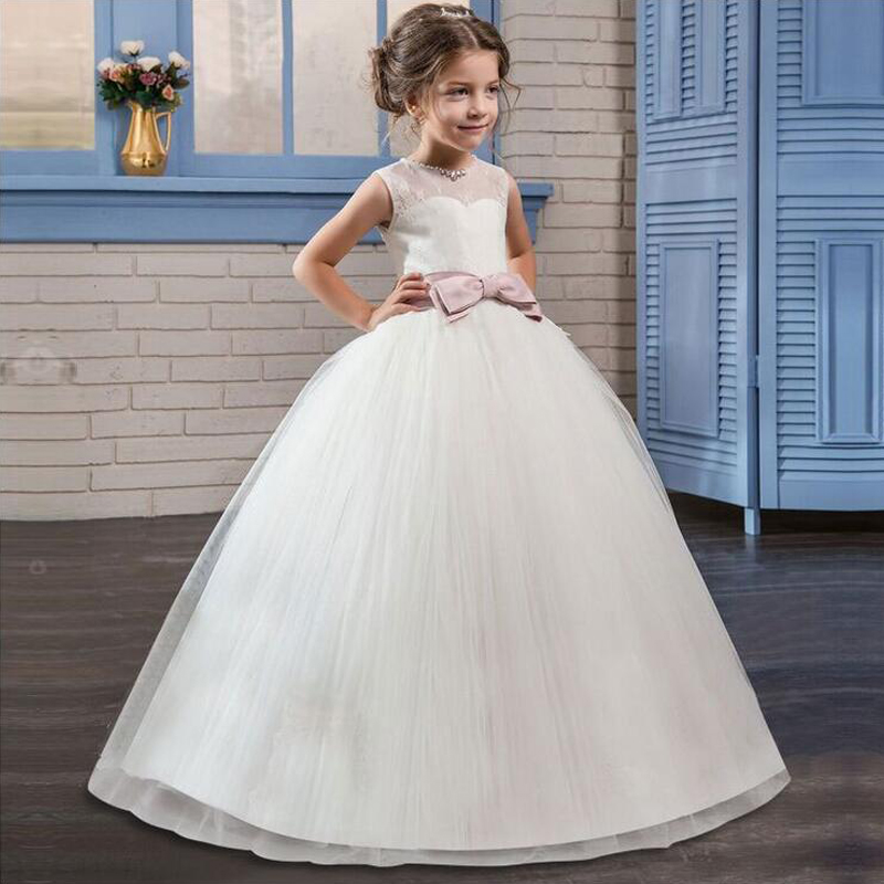 Ball Gown First Communion Dresses for Girls Sleeveless Flower Girl Dresses for Weddings White Pageant Dresses With Bow lovely pink ball gown short flower girl dresses 2018 beaded pearls first communion dresses for girls pageant dress