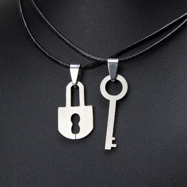 Vintage stainless steel key necklaces men silver lock and key vintage stainless steel key necklaces men silver lock and key necklace set for couples fashion women aloadofball Image collections