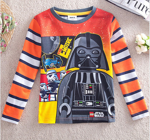 Free shipping high quality 4pcs/lot boy's strip long sleeves pringting cartoon star wars t shirt, suit for spring and autumn