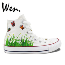 Wen Men Women's Hand Painted Shoes Original Design Custom Butterfly in Flowers High Top Canvas Sneakers for Gifts
