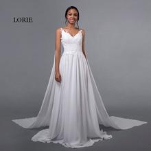 LORIE Gaun Perkahwinan Chiffon Spaghetti Tali Appliques Murah Renda Sapu Kereta Api Putih Caped Pengantin Pakaian Beach Gaun Perkahwinan 2018