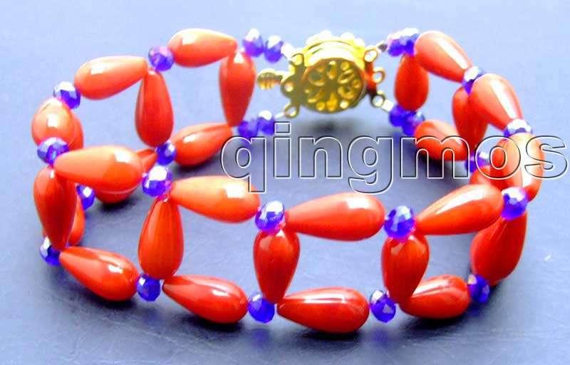 """2 пряди 6*12 мм Капля красного высокое качество Натуральный Коралл ручной вязки """" браслет и горный хрусталь-B250 /Розничная"""