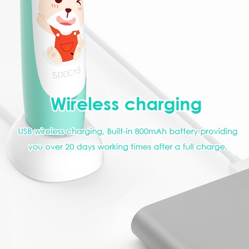Image 5 - SOOCAS C1 Children Electric Toothbrush for Xiaomi Mijia Sonic Brush Teeth Child Kid Automatic Toothbrush Wireless Charging IPX7-in Electric Toothbrushes from Home Appliances