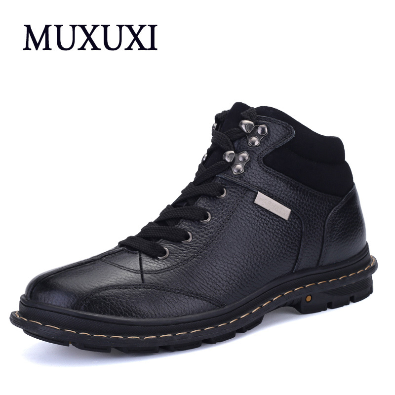 Autumn and winter Genuine Leather Men Work boots Mens brand Fashion Causal outdoor boots handmade snow boots furs warm