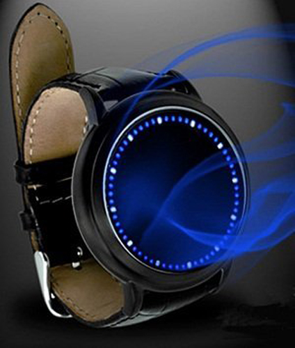 YCYS-Blue LED Touch Screen Watch Fashion Unisex,Soft Leather Watch