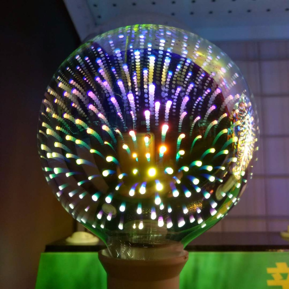 AC 220V Bulb E27 Firework 3D Star LED Bulb ST64 G80 G95 G125 4W For Holiday Christmas Decoration Bar LED Lamp Lamparas Bombillas