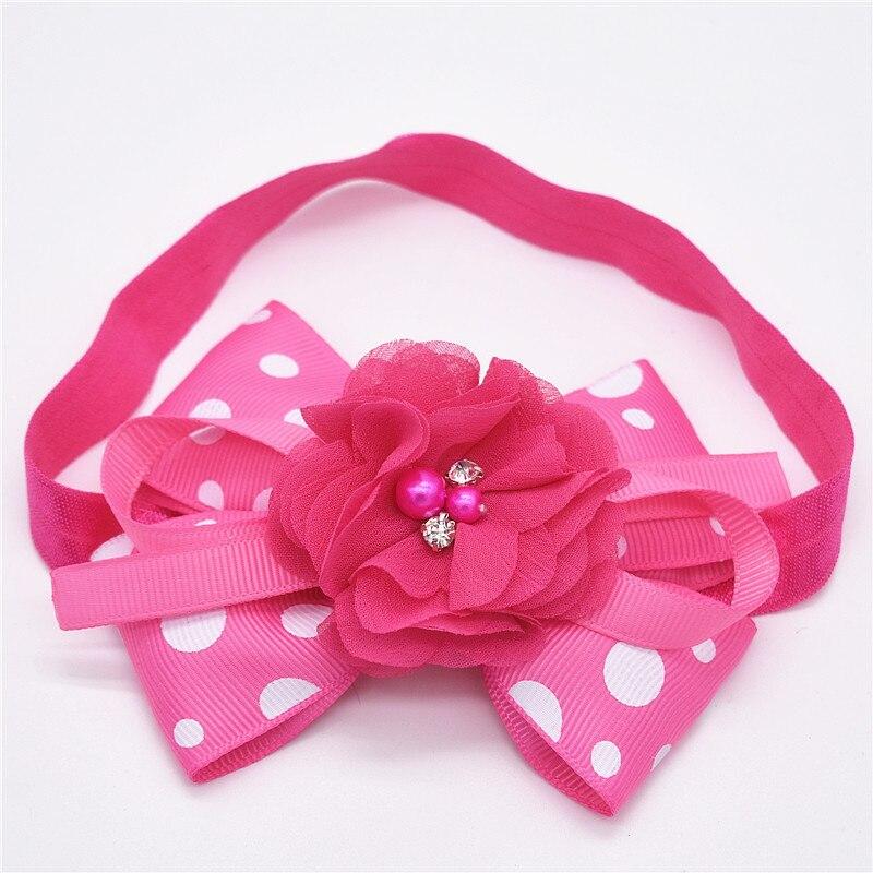 DALI babymeisje haarband hoofdband Bow Knot Dots bloem haarband witte - Babykleding - Foto 5