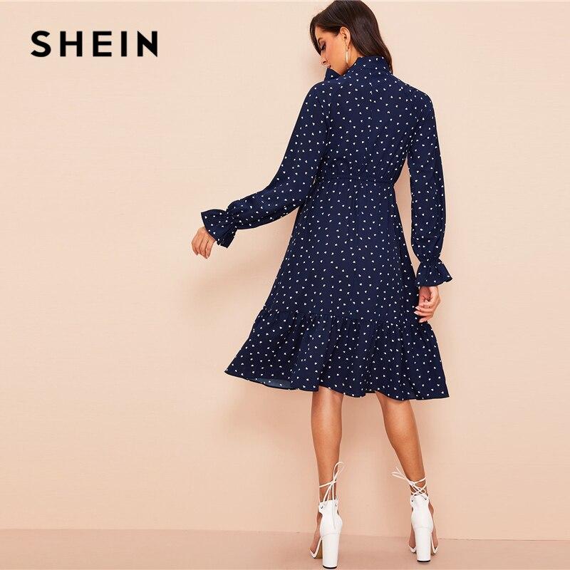 a8293415 קנו שמלות | SHEIN Vintage Navy Tie Neck Allover Heart Print Ruffle A ...