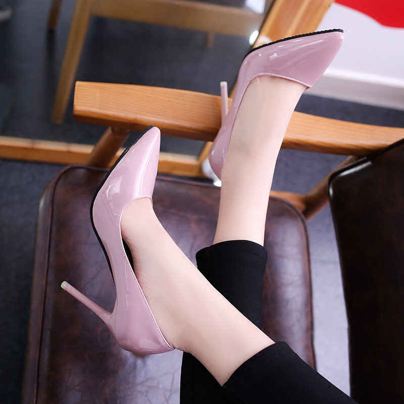 2019 Phụ Nữ Đôi Giày Chỉ Toe Bơm Bằng Sáng Chế Da Váy Giày Cao Gót Giày Thuyền Giày Cưới Zapatos Mujer 10 cm /7 cm/4 cm