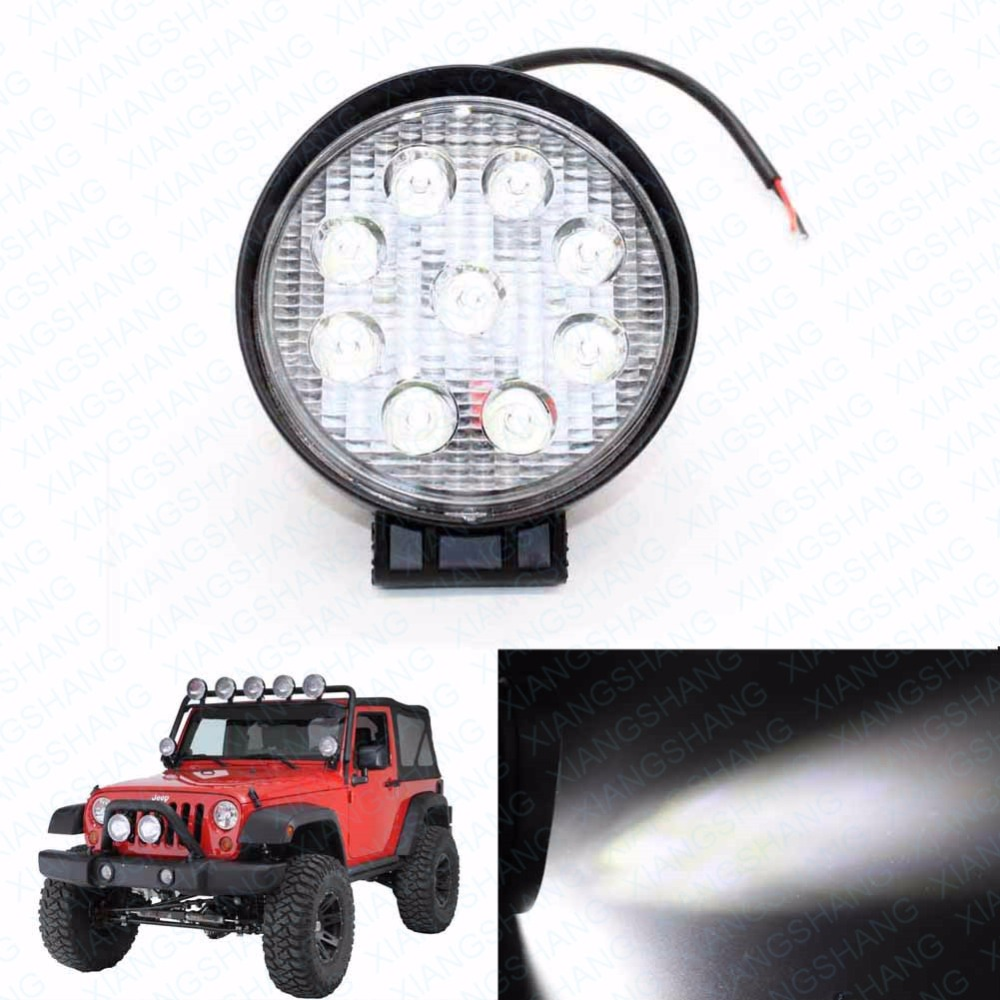 27W Car Styling Driving LED Work Light Bar Off Road Lamp Flush Mount External Light for Jeep Vehicle Tractor Truck Boat SUV