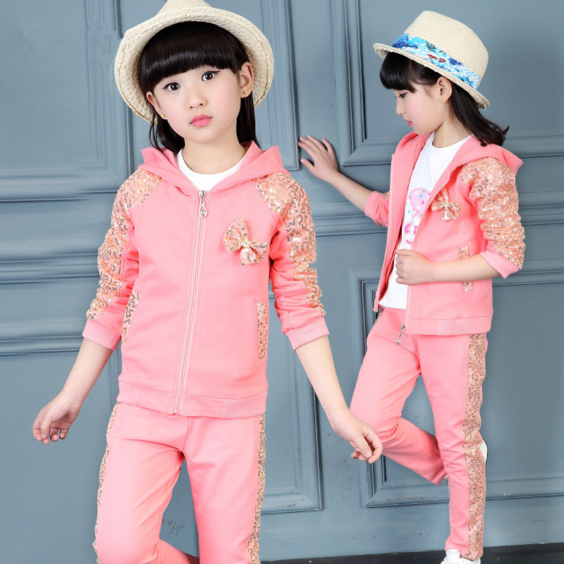 3 Pieces Spring Autumn Girls Clothes Sport Suit Set Fashion Casual Sequin Hooded Jacket + T-Shirt + Pants Children Clothing Set ang 90 магнит сказочные мотыльки 10х10