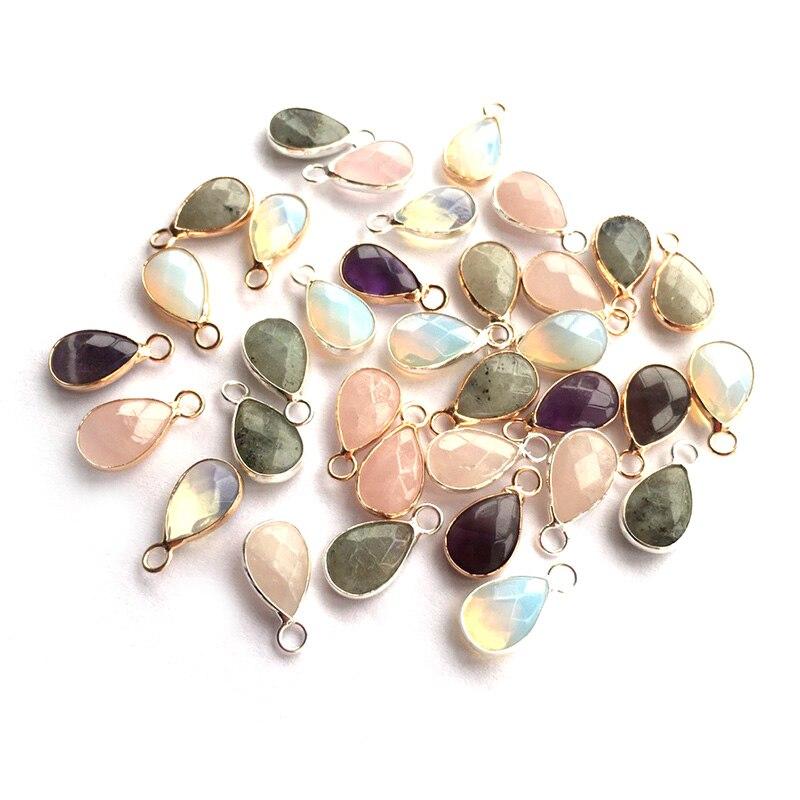 Wholesale Rose Quartzs Labradorite Amethysts Pendants Water Drop Shape Natural Stone Pendant  DIY For Earring Jewelry Making