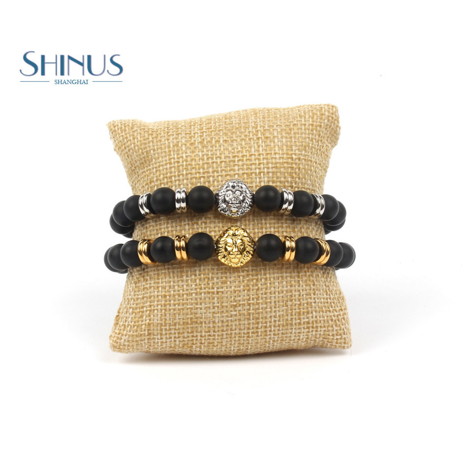 Shinus Bracelets Men Bracelet Women Couples Lover Meditation Jewelry Boho Chakras Natural Stone Onyx Beads Lion Head Charm Gifts