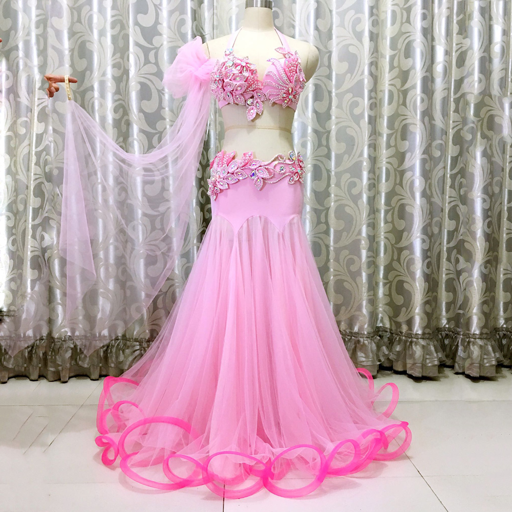 Performance Belly Dance Clothes Hand Made Bra Top Long Skirt 2pcs Belly Dance Suit Pink Set
