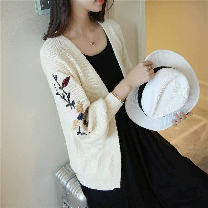 OHCLOTHING 4378 - a new Spring Autumn Long Sleeve 46 Dress Embroidery Knitted Cardigan Women 2017 Female Femme Black Pink