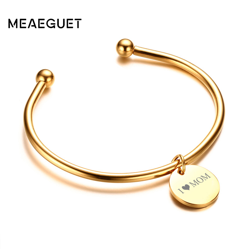 Laser Engrave Charm ID Bangle Personalized Name Bracelet For Women Customised Bangle Jewelry For Gift