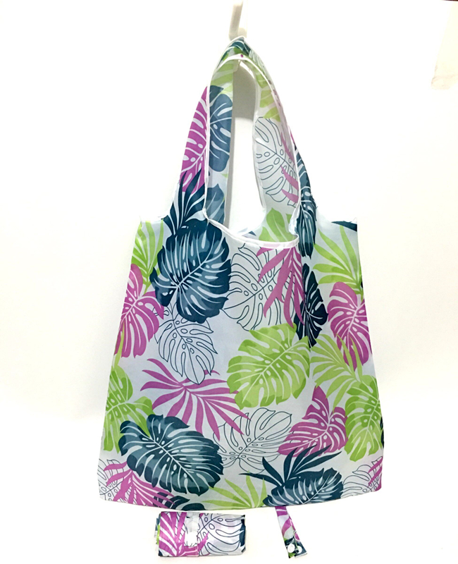 2019 NEW Roll UP Reusable Portable Shoulder Handbag Polyester Foldable Green Shopping Bag Tote Folding Pouch Handbags Polyester