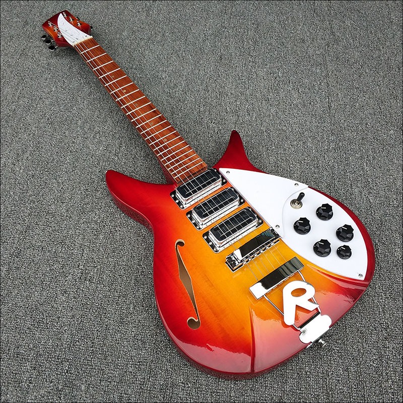 High quality,Cherry red,Semi Hollow body Rick 325 Electric guitar 6 strings guitar, All Color are available,free shipping!