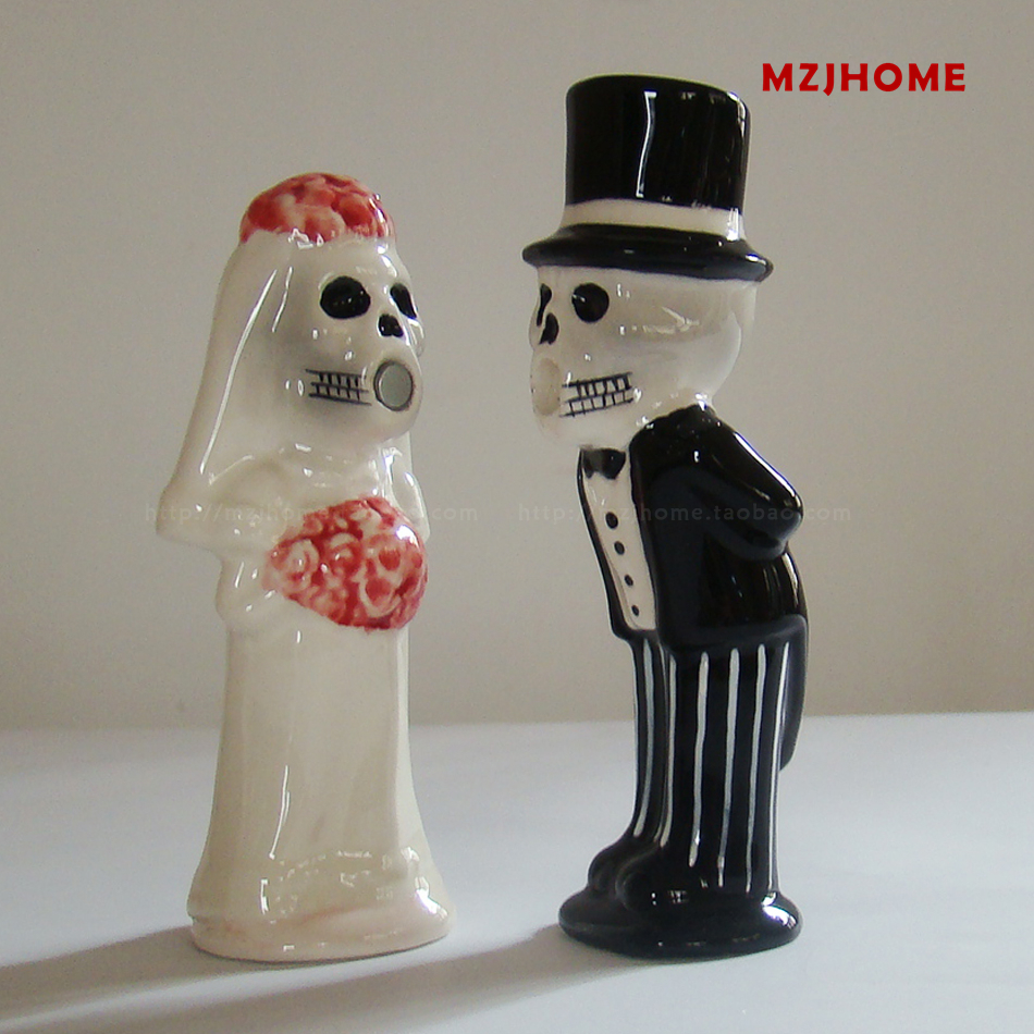 halloween wedding cake toppers ceramic ornaments corpse bride and bridegroom figurine castor decoration valentines day gift - Ceramic Halloween Decorations